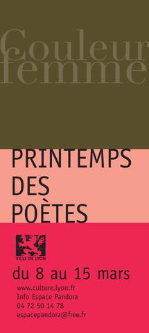 8 au 15 mars. Couleur Femme, Printemps des poètes à Lyon organisé par l'Espace Pandora
