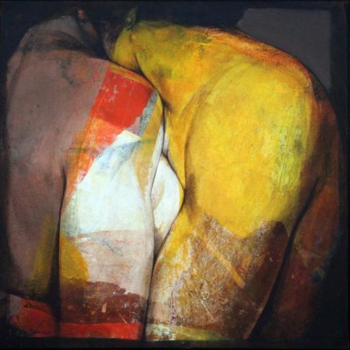 Etienne Gros. Prise de contact Acrylique et papier sur toile 100 x 100 cm