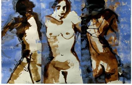 Chrysalide sépia, bleu - Technique mixte sur papier marouflé sur toile – Triptyque 126 x 165 cm