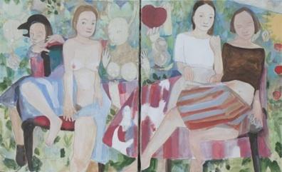 Stéphane Dauthuille, Je suis désolé de la destruction du jardin - Diptyque 2 x 100 x 81 cm Gouache et cire sur papier marouflé sur toile