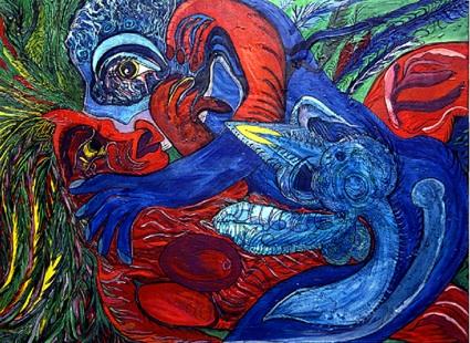 Ody Saban « Coït suspendu », acrylique sur toile, 97 x 130 cm