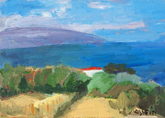 Marie Astoin, Maison au bord de mer, huile sur toile, 33 x 46 cm