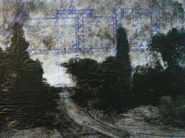 François Burland. Série Paysages Incertains, 2009 Huile sur papier calque