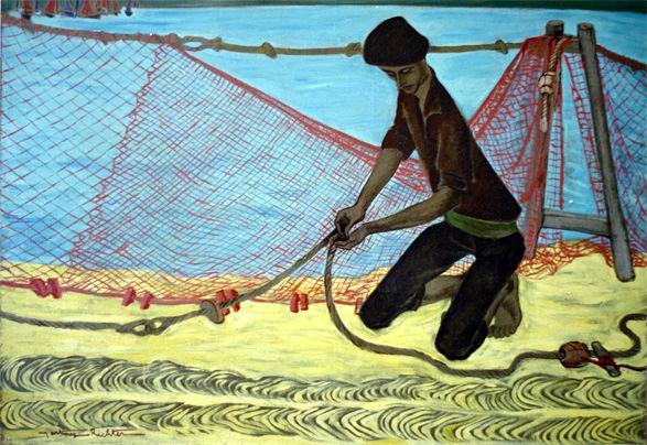Alice Martinez-Richter, Le pêcheur aux cordages lovés - vers 1969