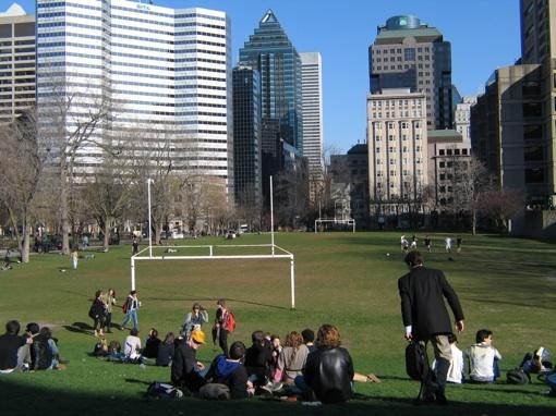 Le campus de l'université McGill ouvre sur les gratte-ciel © P. A.