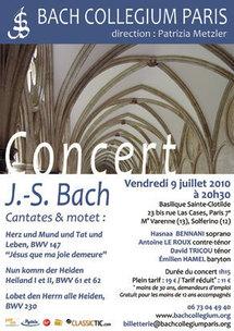 Concert Cantates de Bach à Paris