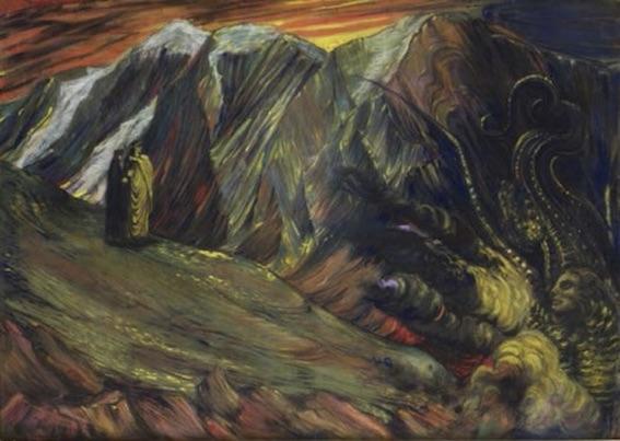 Henry de Groux (1866-1930), Dante et Virgile aux enfers «Lucifer», ca. 1895