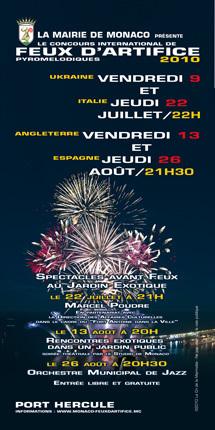 Concours International De Feux D'artifice Pyromélodiques les 9 et 22 Juillet & les 13 et 26 Août à Monaco