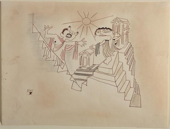 Jean Cocteau, le complexe d'Œdipe, feutre noir, rehauts d'encre noire et pastels secs / 28.4 x 37.8 – musée Jean Cocteau / collection Séverin Wunderman