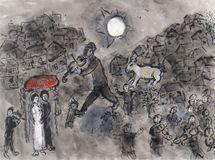 Marc Chagall, (1887-1985). Couple d'amoureux et violonistes. Lavis, encre de chine, gouache et pastel sur papier. 57,7 x 75,5 cm. Collection Privée