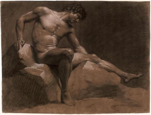 Jean-Baptiste Isabey, Homme assis appuyé sur le bras gauche, les jambes croisées, février 1789, pierre noire estompée sur papier brun, 46,8 x 60,7 cm, EBA 2964.
