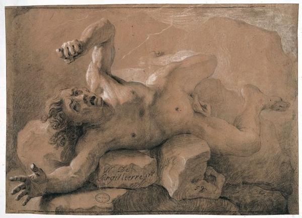 Nicolas de Largillierre, Titan foudroyé, 1706, pierre et rehauts de craie blanche sur papier brun, 38,9 x 55,3 cm., EBA 2992.