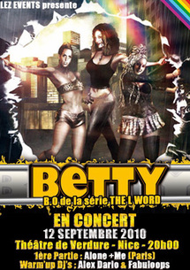 12.09.10 - BETTY Alone & Me en 1ère partie Concert LGBT Pop Rock, Théâtre de Verdure, Nice