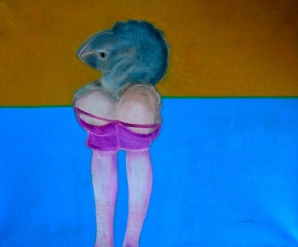 Philippe Labarthe. Oiseaux avec les jambes nues, 40x60cm, 1967
