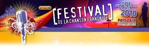 1 au 9.10.10 : Festival de la chanson française du Pays d'Aix avec (entre autres) Richard Gotainer, Pierre Perret, Yves Jamait