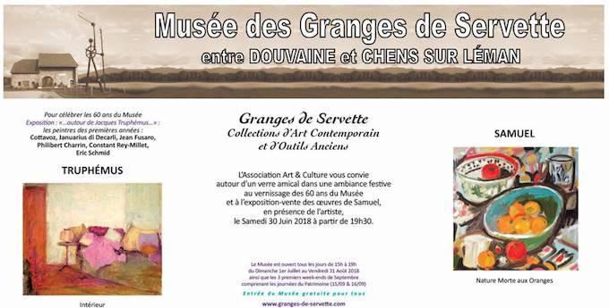 Musée des Granges de Servette 74140 Chens sur Léman à quelques kms d'Yvoire, Lac Léman, vernissage le samedi 30 Juin à partir de 19h30