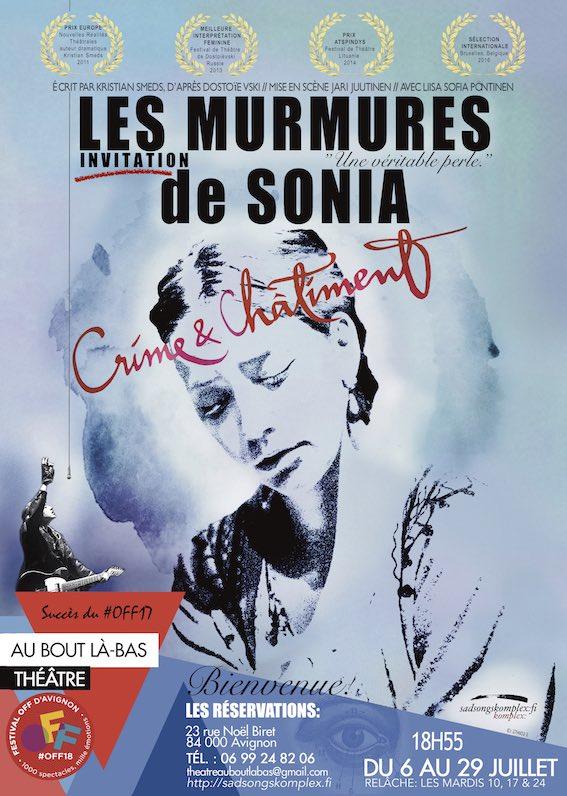 Avignon Off. Les Murmures de Sonia – Crime et Châtiment, de Kristian Smeds, Théâtre Au Bout Là-bas, du 6 au 29 juillet 2018 à 18h55