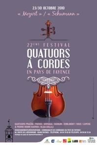 """23 au 30.10.10 : """"Mozart - Schumann"""" à l'honneur au 22e festival de quatuors à cordes en pays de Fayence"""