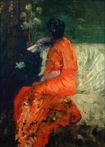 Giuseppe de Nittis, Le Kimono couleur orange © collection particulière