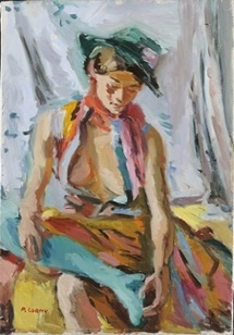 Pierre Cornu, Jeune femme au chapeau vert. Huile sur toile 55 x 38 cm