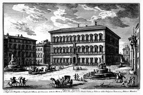 Palazzo Farnese, dessin de Giuseppe Vasi (1710–1782)
