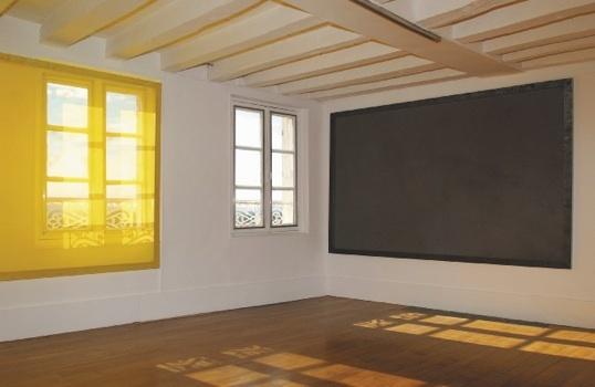 Fenêtres, 2003, 2 peintures/écrans 165 x 260 cm chacune. Atelier Cantoisel, Joigny © Gilles Puech