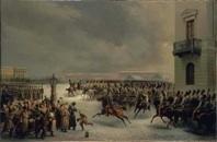 Attaque du carré des Décabristes par le régiment des gardes à cheval le 14 décembre 1825 par Timm Vassiliy (1820-1895), 1853 © Collection musée de l'Ermitage