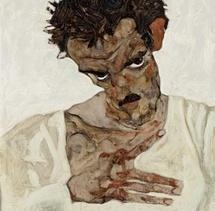 Egon Schiele, Selbstbildnis mit gesenktem Kopf, 1912 Leopold Museum, Wien