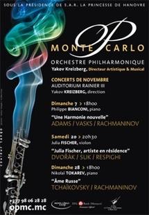 En novembre, trois concerts avec l'Orchestre Philharmonique de Monte-Carlo