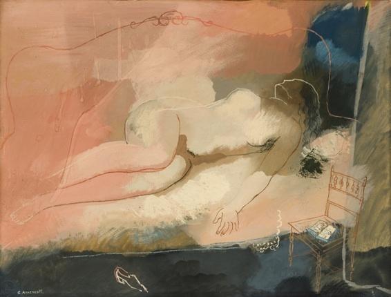 Georges Annenkov (1889-1974). « Nu allongé ». Circa 1920, Gouache sur papier 47 x 62 cm