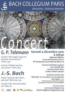 4.12.10 : Concert Cantates et Motet de Bach et Telemann, église des Billettes, Paris