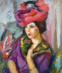 Pierre Cornu, Portrait au chapeau , huile sur toile, 55 x 46 cm
