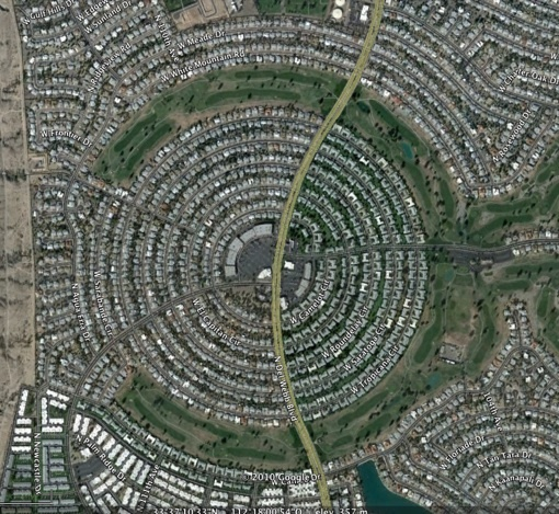 Vue aérienne partielle de Sun City © Google Earth 2009