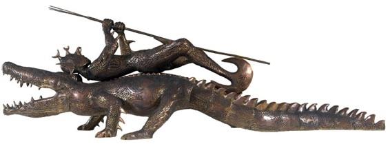 Ubirikubiri 2007, Sculpture en bronze et pendentif en nacre , édition 2/6, 110 x 120 x 360 cm. 1er prix du Telstra National Aboriginal & Torres Strait Islander Art Award 2007.