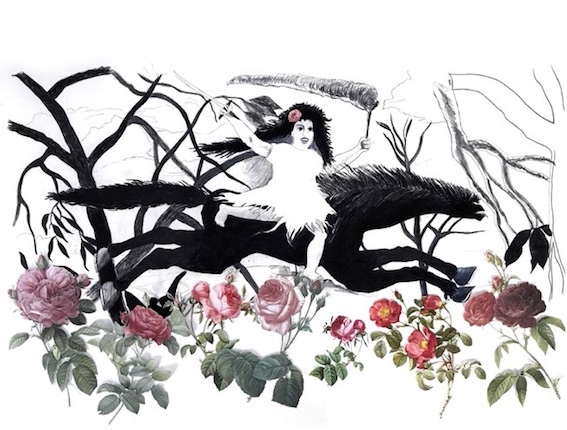 Philippe Louisgrand. Hommage au Douanier Rousseau, collage et dessin, 160 x 110 - 2O18