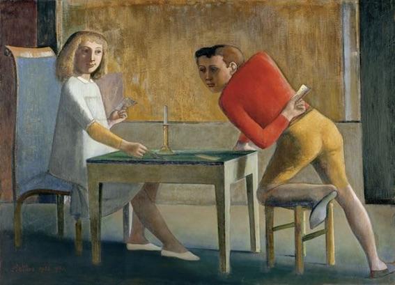 Balthus, La Partie de cartes, 1948 – 1950. Huile sur toile, 139.7 x 193.7 cm. Museo Nacional Thyssen-Bornemisza, Madrid © Balthus