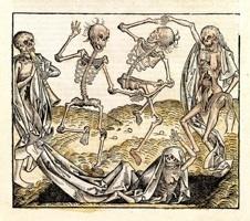 Danse macabre Tirée du Liber Chronicarum opus de temporibus mundi, de Hartmann Schedel. Michel Wolgemut, Nuremberg, 1493 Xylographie, rehaut de polychromie © F. Boucquillon Fund - photo Hugo Maertens