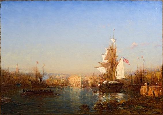 Félix Ziem, Navire américain dans le port de Marseille, huile sur toile 84 x 117 cm, collection particulière (crédit photographique : Aleksander Rabczuk)