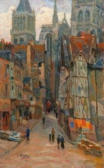 Marcel DELAUNAY, Rue de l'épicerie 61x38 cm