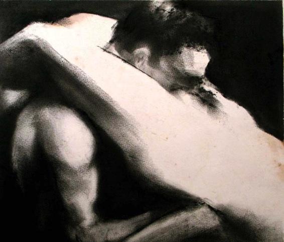 Raphaël Thierry, Le Rêve de la Femme du Pécheur. Fusain. 24 x 26.5 cm