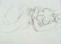 Auguste Rodin, Nu couché, 1925, mine de plomb sur papier d'Arches, 28 x 37,8 cm