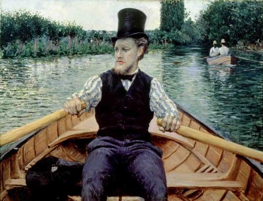 Canotier au chapeau haut de forme 1877-1878, huile sur toile, 90 x 117 cm, collection particulière Courtesy Comité Caillebotte, Paris