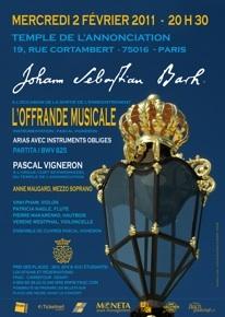 Concert Johann Sebastian Bach - l'Offrande Musicale, Temple de l'Annonciation, Paris, le 2 Février 2011