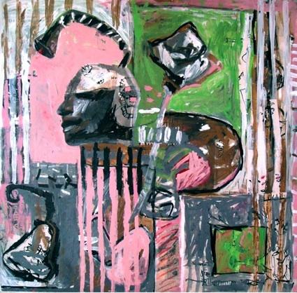 Gersende, Rose, peinture sur journaux et dessins marouflés sur toile, 80 x 80 cm, 2008