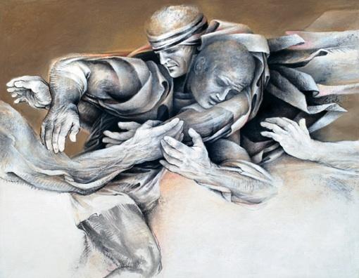 Charles-Louis La Salle, Tournois des Turbulences n°I, fusain acrylic sur toile, 114 x 146 cm, 2010
