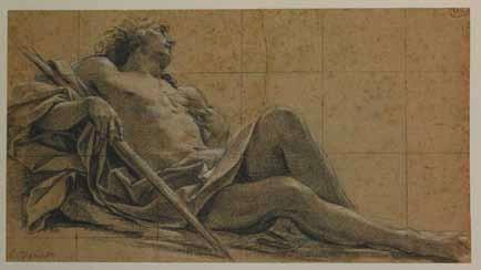 Simon Vouet (1590-1649) Etude pour une figure d'Endymion Pierre noire et rehauts de craie blanche sur papier crème © Musées de la Ville de Rouen, Catherine Lancien et Carole Loisel