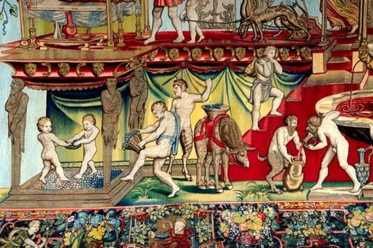D'après Giovanni da Udine, Triomphe des Dieux, triomphe de Bacchus, détail, tissage vers 1560, Paris, Mobilier national © P. Sébert