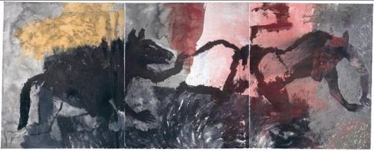 Patrick Loste, Lupas et Lycanthropes, 2010 Triptyque, pigments et encres sur toile 250 x 600 cm Collection privée
