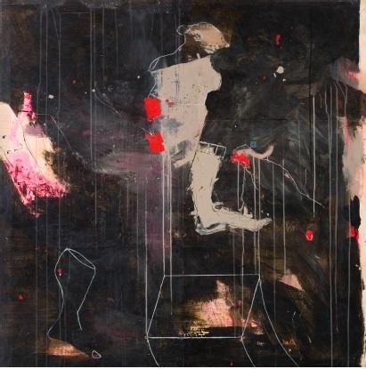 Philippe Croq, Sans titre, technique mixte marouflé sur bois 122 x 125 cm