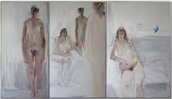 Michel Steiner, Triptyque, Présences dans l'atelier, huile sur toile, 195x (97, 130, 114), non daté